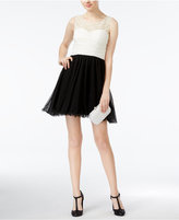As U Wish Juniors' Embellished Colorblocked A-Line Dress