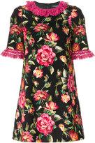 Dolce & Gabbana rose printed frill trim dress