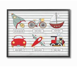 """Icons Stupell Industries Transportation and Noises Oversized Framed Giclee Texturized Art (16""""x20""""x1.5)"""