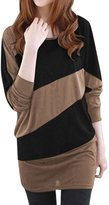 Allegra K Women Batwing Sleeves Contrast Color Tunic Top L
