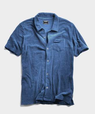 Todd Snyder Terry Button Down Polo in Light Blue