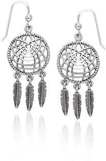 Carolina Glamour Collection Sterling Silver Dream Catcher dangling Feathers Southwestern Dangle Earrings Large