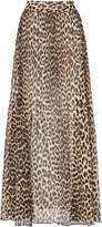 Ganni Georgette Pleated Leopard Maxi Skirt Size: 34