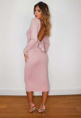 Missguided Tie Back Knitted Midaxi Dress