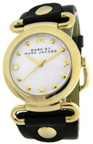 Marc by Marc Jacobs MBM1304 Gold Tone Case Black Leather Strap 36mm Womens Watch