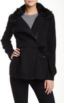 Rachel Roy Faux Fur Trim Collar Belted Coat