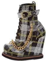 Kokon To Zai Plaid Mid-Calf Wedge Boots