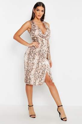 boohoo Satin Snake Print Wrap Midi Dress