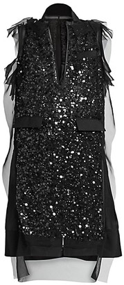 Sacai Sequin-Embroidered Dress