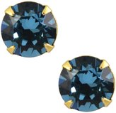 Liz Palacios Gold Plated Round Swarovski Crystal Stud Earrings