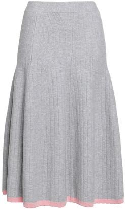 Victoria Beckham Flared Ribbed Wool-blend Midi Skirt