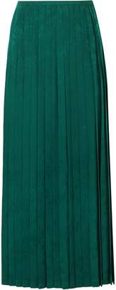 Vilshenko Beatrix Pleated Crepe-jacquard Midi Skirt