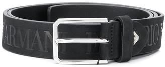 Emporio Armani Logo Print Leather Belt