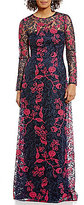 David Meister Embroidered Long Sleeve Gown