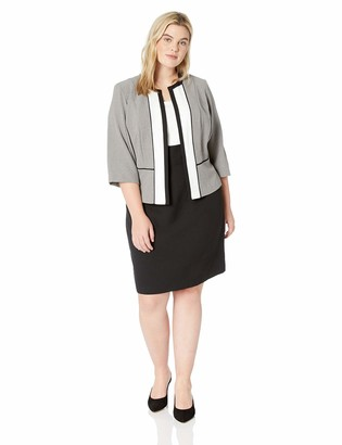 Sandra Darren Women's 2 PC Plus Size 3/4 Sleeve Career Crepe Jacket Dress Set