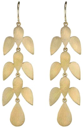 Irene Neuwirth Marquis Leaf Motif Earrings - Yellow Gold