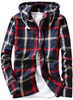 Pishon Men's Long Sleeve Shirt Cotton Lightweight Hooded Plaid Button Up Shirts