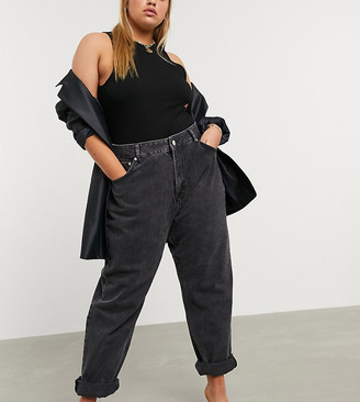 ASOS DESIGN Curve high rise 'slouchy' mom jeans in washed black