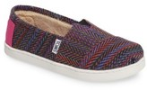 Toms Girl's Classic Herringbone Faux Fur Lined Slip-On
