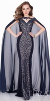 Terani Couture Swirling Lace Chiffon Cape Evening Dress