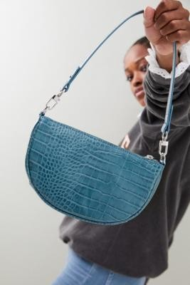 Urban Outfitters Faux Croc Half Moon Shoulder Bag - Blue ALL at