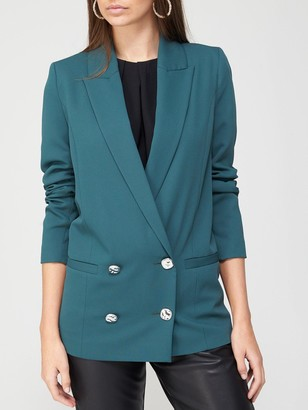 River Island Double Breasted Blazer - Green