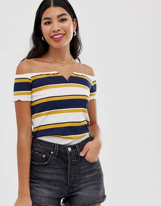 Pimkie striped notch front t shirt in yellow