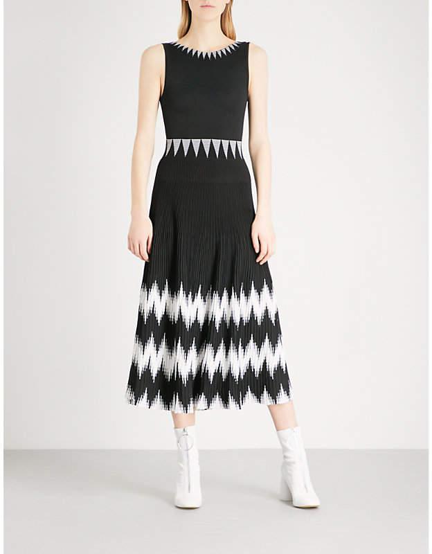 Maje Ruche sleeveless knitted midi dress