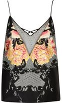 River Island Womens Black floral print cami pajama top