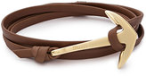 Miansai 18K Gold-Plated Anchor Leather Bracelet, Brown