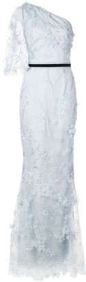 Marchesa Notte Embroidered Long Dress