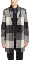 GUESS Men's Onyx Check Wool Long Coat Jacket