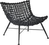 GLOBE WEST Deck Chairs Rumba Rattan Occasional Chair, Black