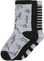 Joe Fresh Kid Boys' 3 Pack Ankle Socks, Grey (Size 3-6)