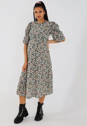 Missguided Black Floral Puff Sleeve Maternity Midi Dress