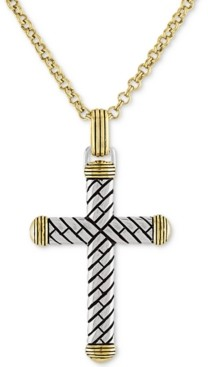 "Esquire Men's Jewelry Textured Cross 22"" Pendant Necklace in 14k Gold Over Sterling Silver, Created for Macy's"