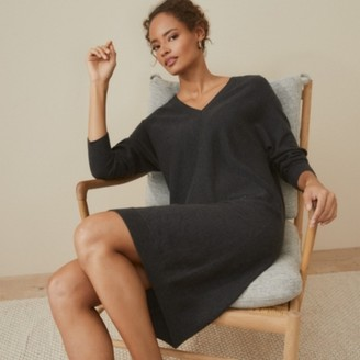The White Company Wool-Cotton V-Neck Knitted Dress, Dark Charcoal Marl, 6