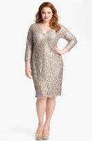 Tadashi Shoji Metallic Jacquard Tulle & Lace Dress (Plus)