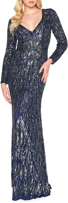 Mac Duggal Metallic Sequin V-Neck Long-Sleeve Leaf-Pattern Gown