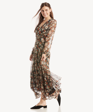 Astr Women's Ls Handkerchief Hem Midi Dress In Color: Black Multi Floral Size XS From Sole Society