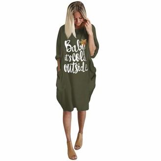 WAOTIER T Shirt Plus Size Loose Tops Dress Ladies O Neck Long Sleeve Pocket Christmas Elk Print Dress Oversized Casual Cotton T Shirt Tops S-5XL Green