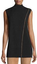 Lafayette 148 New York Two-Tone Mock-Neck Sleeveless Sweater, Black/Teak