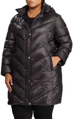 Lauren Ralph Lauren Packable Faux Suede Trim Quilted Down Coat