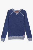 7 For All Mankind Boys S-Xl Denim-Look French Terry With Marled Rib Knit Pullover Sweatshirt In Indigo