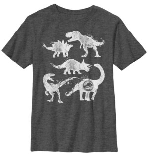 Fifth Sun Jurassic World Two Big Boy's Dino Cracked Silhouettes Short Sleeve T-Shirt