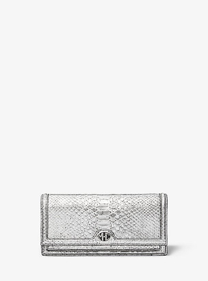 Michael Kors Collection MK Monogramme Metallic Python-Embossed Leather Clutch - Silver - Michael Kors