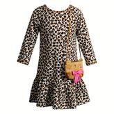Youngland Toddler Girl Leopard Drop-Waist Dress with Animal Purse
