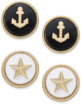 Charter Club Gold-Tone 2-Pc. Set Marina-Theme Stud Earrings, Created for Macy's