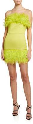 Bronx and Banco Lola Feather-Trim Bustier Dress