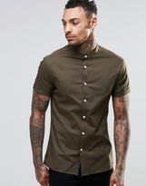 Asos Skinny Shirt In Dark Khaki With Grandad Collar And Short Sleeves